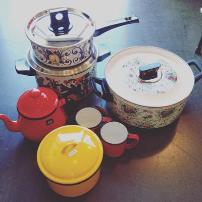 ヴィンテージ、ホーロー鍋、キッチンウェア