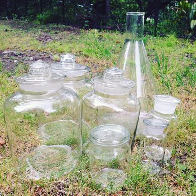 梅酒瓶、三角フラスコ、実験器具、ガラスボトル、ヴィンテージ