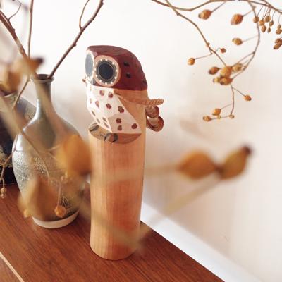民芸品、笹野一刀彫、クラフト、ふくろう、木彫、ヴィンテージ