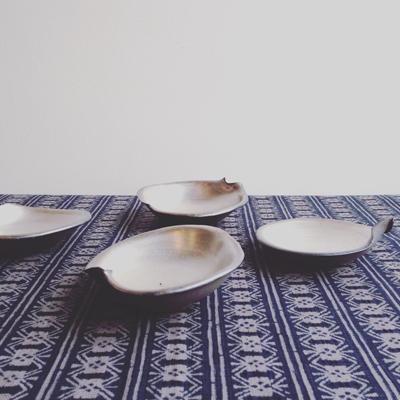 和食器、銀彩、小皿、ヴィンテージ、作家もの、豆皿、やきもの