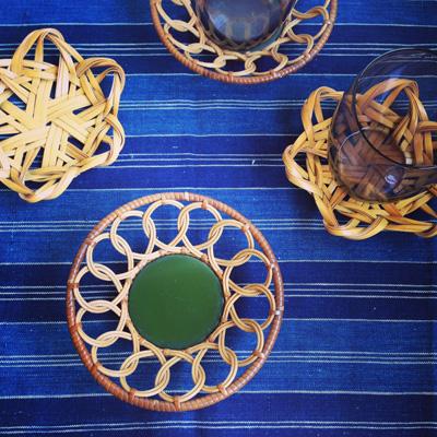 ヴィンテージ、茶托、和モダン、竹工芸、漆器、茶道具、コースター、天然素材、竹、籐