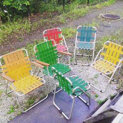 ヴィンテージ、ガーデンチェア、ニチエス、フォールディングチェア、アウトドアインテリア、gardenchair、foldingchair
