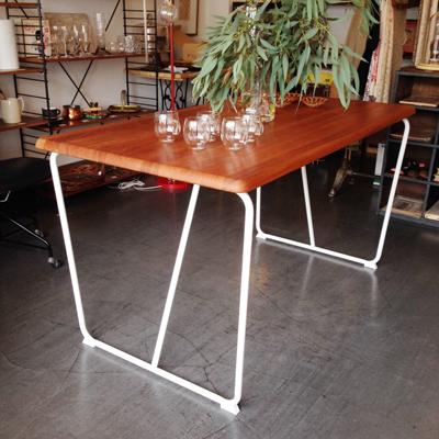チーク、ダイニングテーブル、リメイク、ヴィンテージ、モダンデザイン