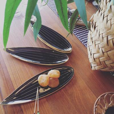 七夕、笹の葉、菓子皿、ヴィンテージ、リーフプレート、モダンデザイン