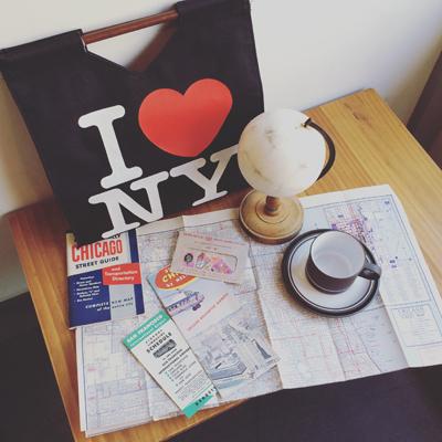 アイラブニューヨーク、ロゴデザイン、ロゴマーク、紙もの、エアパンフレット、観光パンフレット、海外旅行、地球儀、観光マップ