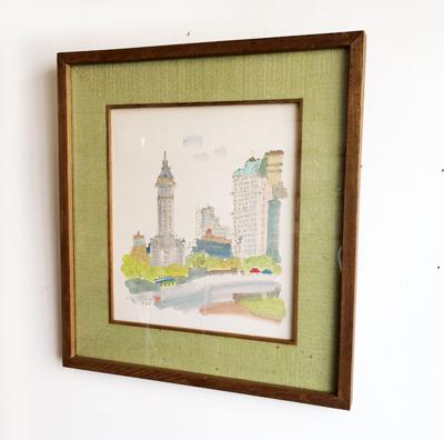 須賀卯夫、色紙絵、水彩、ニューヨーク、洋画家、アート、額絵