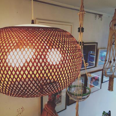 竹のあかり、近藤昭作、ヤマギワ、ペンダントランプ、ヴィンテージ、オリジナル、竹工芸、ジャパニーズモダン