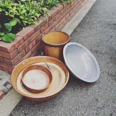 アンティーク、古道具、盥、こね鉢、さわり鍋、銅鍋、一斗樽、アルミ洗面器