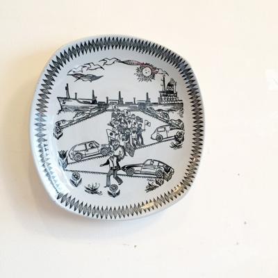 北欧ヴィンテージの絵皿、フィッジョ、ウォールプレート