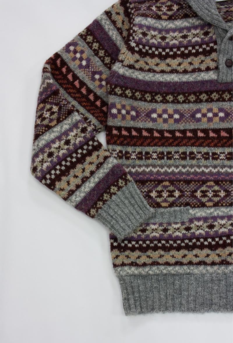 ジャミーソンズ・リブショールカラーセーター・グレイブラウン