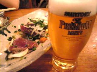 魚金本店「ビールと鰹」