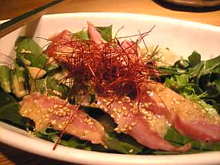 天地旬鮮 八吉 新橋店「豚トロほうれん草サラダ」