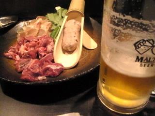 博多もつ鍋焼酎酒場 もつ福 西新橋店「モルツ生&コラーゲン鍋具材」