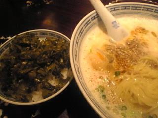香港麺 新記 台場店「坦々麺&高菜ごはん」