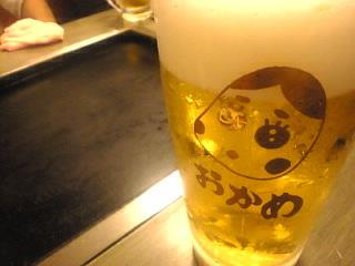 もんじゃ おかめ ひょっとこ店「生ビール」