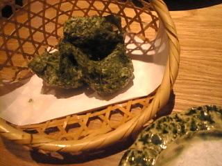 88屋「あおさのりの天ぷら、磯の香り揚」