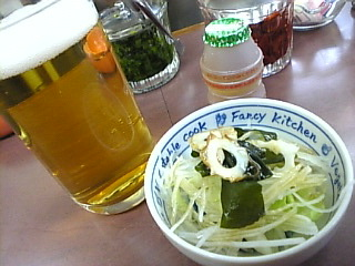 カレーショップ田園_志村坂上「ビール&サラダ」