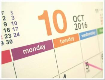カレンダー2016年-10月