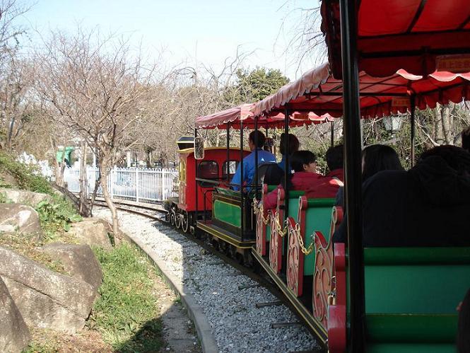 豆汽車に乗って園内をまわります