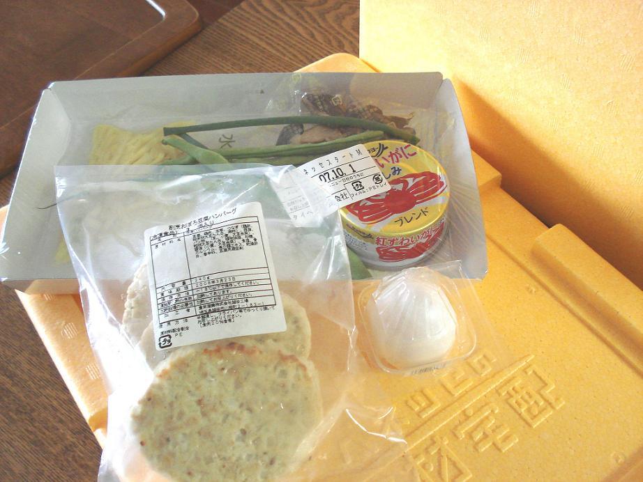小さな保冷箱に入って届いた食材