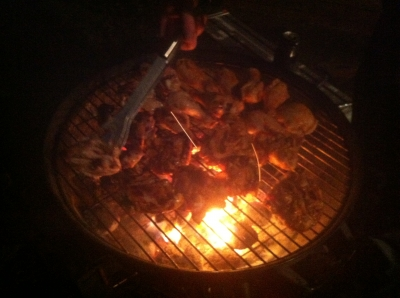 いい感じで鶏肉焼けてます
