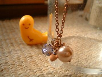 プチプチハート付き銅古美ネックレス