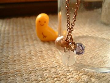 プチプチハート付き銅古美ネックレス(裏)