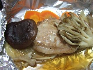 20090207夕食 味噌漬け豚肉のホイル蒸し