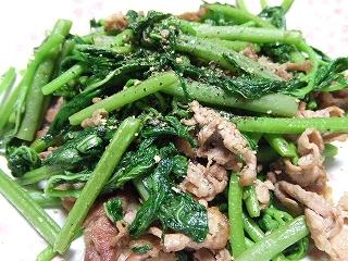 200905015夕食 空芯菜の炒め物