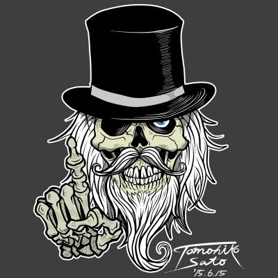 スカル 骸骨 アメコミ イラスト ヒゲ 男爵 illustration skull