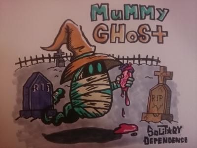 mummy ghost pop illustration art rip 幽霊 ゴースト イラスト ミイラ 包帯 ポップ 墓場 コピック