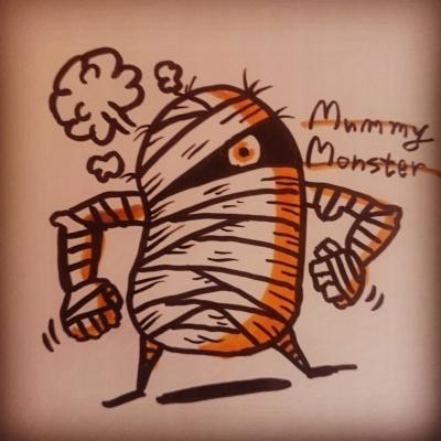 mummy illustration monster artwork drawing 落書き マミー ミイラ イラスト 絵