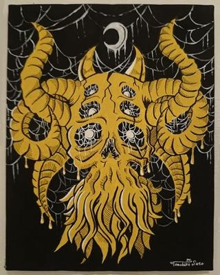 スカル ガイコツ モンスター イラスト 画像 異形 蜘蛛の糸 skull illustration monster image idea アクリルガッシュ