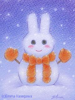 ウサギ雪だるま