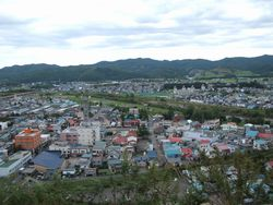 がんぼう岩頂上から遠軽町内を見下ろす