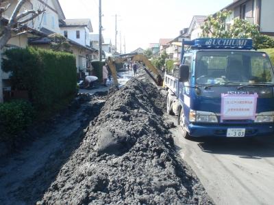 土を除去している所です