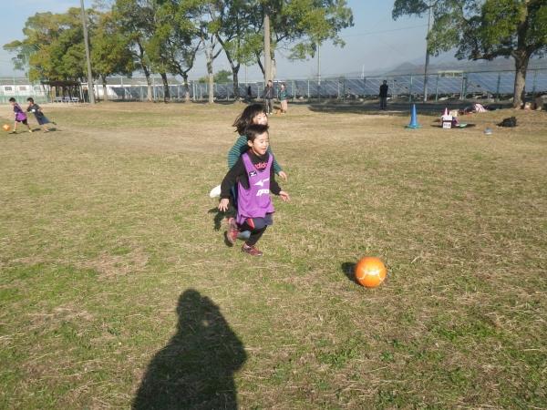 ボールを追いかけて、走る走る・・・