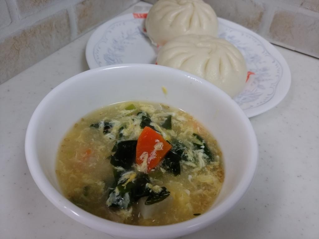 わかめスープと中華まん