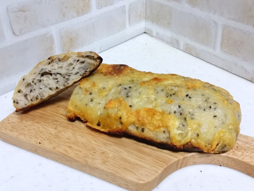 自家製酵母×魚焼きグリルでゴマチーズ