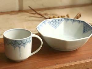 稲村真耶 三角花弁紋マグカップ ウロコ紋八角鉢