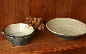 八木橋昇黒呉須化粧スープ平碗