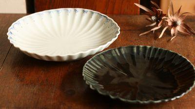 瑠璃釉輪花6寸皿 緑点紋輪花7寸皿