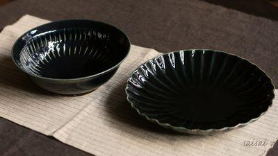 ルリ釉輪花7寸皿 ルリ釉2段鎬5.5寸鉢
