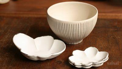 石岡信之 線彫どんぶり くもとんすい くも豆皿