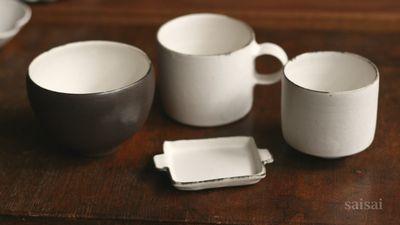 石岡信之 黒カフェオレボウル 白コーヒーカップ おかっぱコップ 白こぼん
