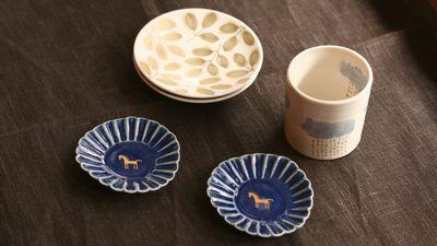 飯野夏実 ルリ釉馬の豆皿