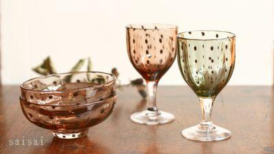鈴木努 豆絞り柄小鉢 食前酒グラス
