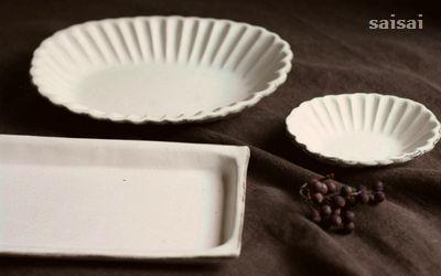 石岡信之 花楕円皿 白長角皿