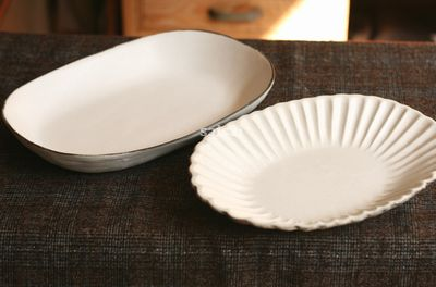 石岡信之 花オーバル皿 白楕円鉢