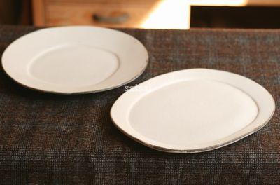 白楕円リム皿 プレート大
